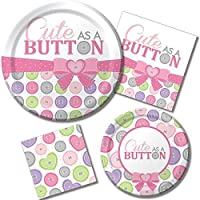 Creative Converting Cute As A Button Girl Sturdy Style Round Paper Plates (8 Count) 8.75 [並行輸入品]
