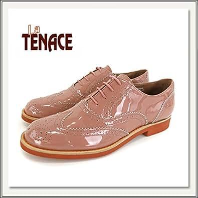 La Tenace(ラテナーチェ)エナメルレザーオックスフォードシューズ[ピンクベージュ][革靴/紐靴/レースアップ][おじ靴/マニッシュ][レディース][グレーピンク/ベージュ] (37(約24cm))