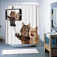 Monsiter クリエイティブな猫の印刷機でシャワーカーテンウォッシャブルエコフレンドリーな防水と防カビの抗菌ポリエステル布とフック(180×180cm)