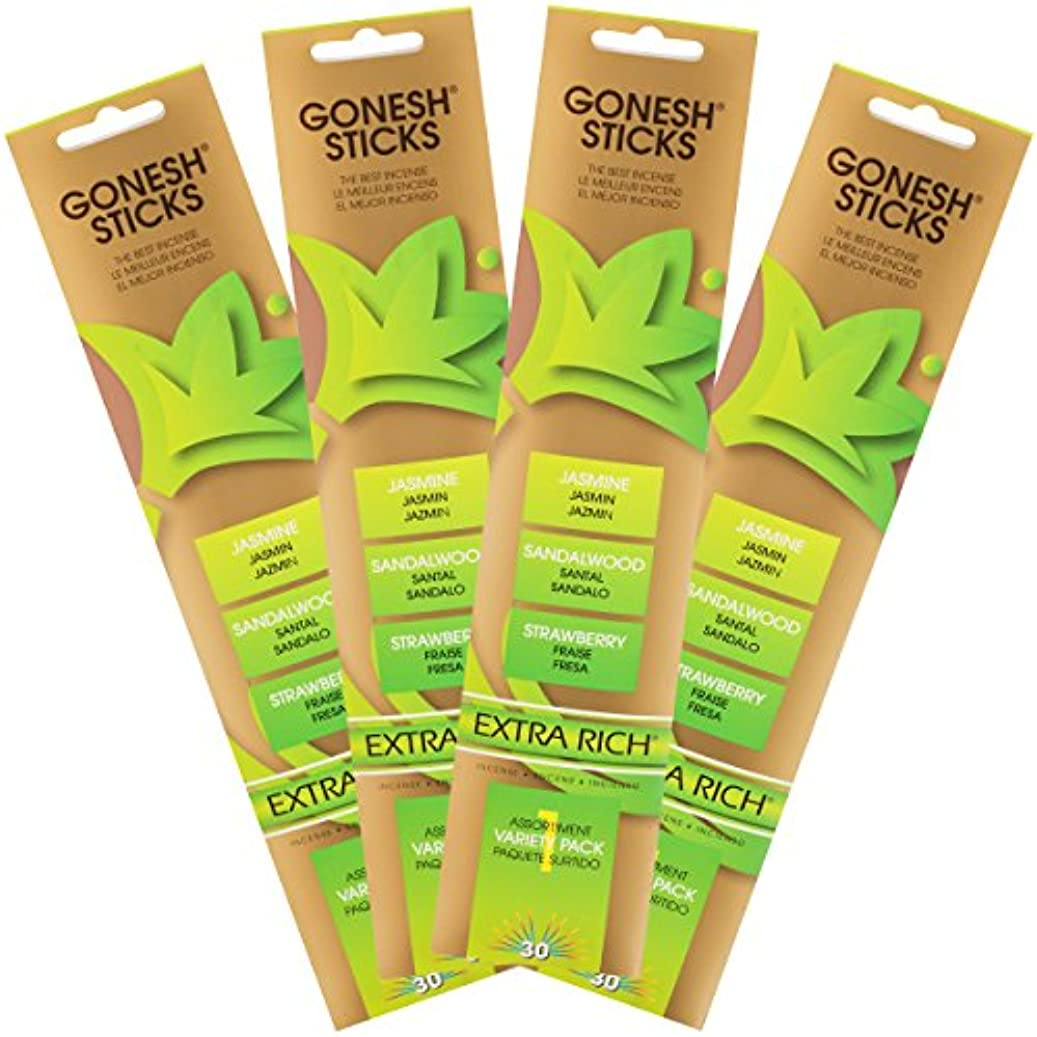 一節線眉をひそめるGonesh Incense Sticks – Extra Rich Variety Pack # 1 (ジャスミン、サンダルウッドand Strawberry ) Lot of 4