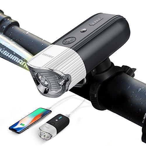 〖新品&ブラケットの改良品〗SHENKEY 自転車ライト 4000mah 1200 ルーメン 自転車前照灯 高輝度 USB充電 智能感光+LEDアクセサリーモード+モバイルバッテリー機能搭載 IP65防水 (12ヶ月安心保証) (シルバー)