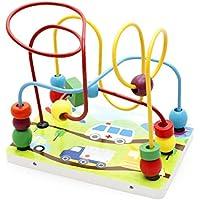 joyeeeマルチカラー木製ビーズローラーコースターTransportationパターン – 早期教育Toys for Your Kids – 完璧なクリスマスギフトアイデア