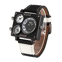 b057ec232e Oulmメンズスポーツ軍事マルチ時間ゾーンキャンバスバンド正方形ダイヤルクォーツ腕時計white-black