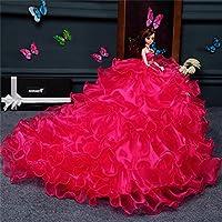 バービー人形 BEMOTION ウエディングドレス おもちゃ 彼女へクリスマスプレゼント 子ども誕生日贈り物 (レッド)