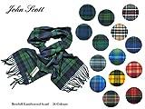 【John Scott】ジョン・スコット Bowhill Lambswool Scarf タータンチェック・ウール・マフラー (1.Blackwatch(ブラックウォッチ))