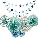 [RADISSY] ペーパー ファン スター ガーランド 飾り付け パーティー デコレーション (ブルー)