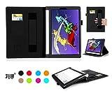 Lenovo YOGA Tablet 2-8インチ(android システム限定)ケース,Fyy® 滑り止め型 スマートケース  マグネット開閉式上質な素材付・ 分離可能 カードスロット付き ・ リストバンド付【全5色】ブラック
