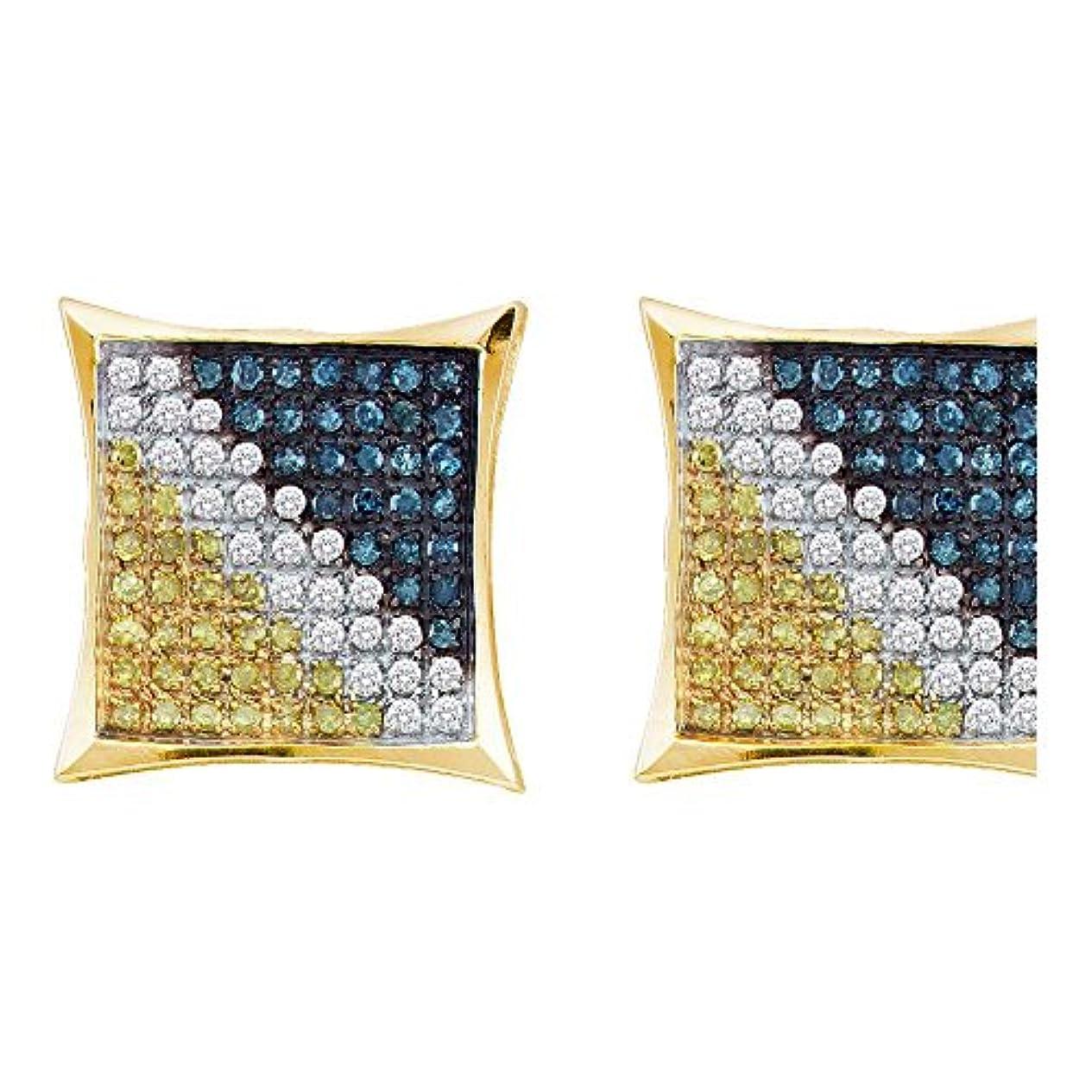 菊華氏移住する10 KTイエローゴールドメンズラウンドブルー色Enhancedダイヤモンド正方形Kiteイヤリング1 / 20 cttw
