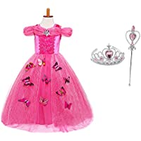 GirlsファンシープリンセスドレスUp With Butterflies、パーティーコスチュームPuffy Layers with Tiara and Wandピンク