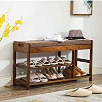 シューズラック、2ラール天然竹製シューズラック、シューズベンチ、バスルーム、リビングルーム、ベッドルーム、廊下に適しています(サイズ:492952cm)