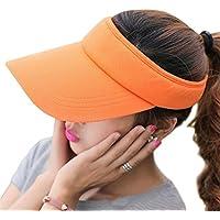 RICHTOER Wide Brim UV Protection Visor Sun Hat with Adjustable Strap Open-top Peaked Flat Hat