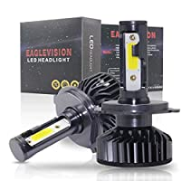 GZCRDZ 2個セット LEDヘッドライト電球ハイビーム変換キット、60W 6000LM 6500K ヘッドライト、60xDOBチップス採用、 ホワイト (H4 HB2 9003)