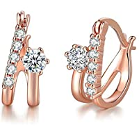 White Gold Plated Cubic Zircon Cocktail Party Evening Office Stud Earrings