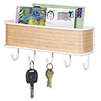 mDesign Entryway Mail Organiser with 5 Key Hooks - Wall Mount, White/Light Wood Finish