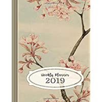 Weekly Planner 2019: Large Calendar Schedule Organizer For Women - 12 Month 52 Weeks Plus Lined Ruled Pages - Japanese Vintage Cherry Blossom Book