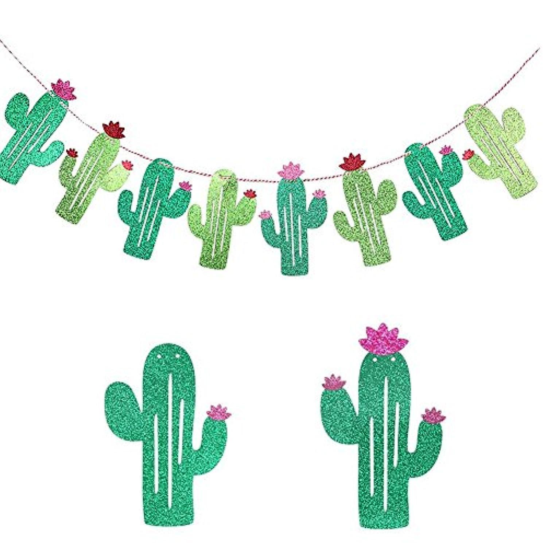 Cactusパーティーガーランド、Willwayキュートサボテン夏テーマパーティーウェディングパーティー誕生日パーティー用バナーベビーシャワーブライダルシャワートロピカルパーティー祭Luauハワイ装飾