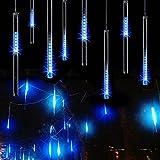 LIANGSM イルミネーションストリングライト LEDツララスティックライト 流星 144LED  8本セット バーディー クリスマス装飾ライト (ブルー)