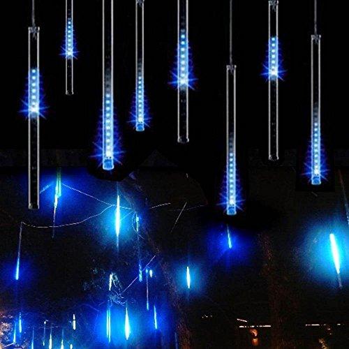 LIANGSM イルミネーションストリングライト LEDツララスティックライト 流星 144LED  8本セット バーディー クリスマス装飾ライト (ブルー)...