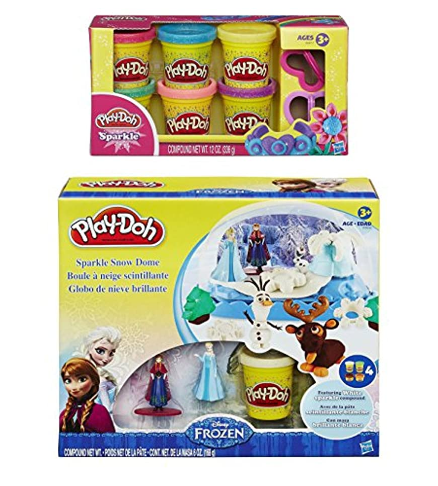 Play-Doh Disney Frozen Sparkle Snow Dome Set with Elsa and Anna + Extra Play-Doh Sparkle Compound Collection Compound Net WT 350ml - Bundle of 2 Items