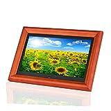Andoer 木製 デジタルフォトフレーム 10インチ 1280 * 800 高解像度 LED 写真/動画/音楽再生 目覚まし時計 カレンダー 多機能フォトフレーム 良いギフト