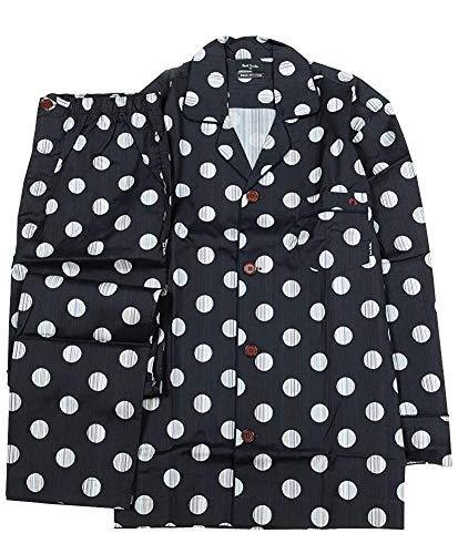 【Paul Smith】ポールスミス マルチドット 前開き 紳士パジャマ(長袖&長ズボン) 黒×チャコール size LL