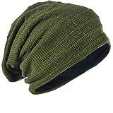 メンズ 大きいサイズのニット帽 ニットキャップ ゆるビーニー帽 オールシーズン ユニセックス B5001 (Army green)