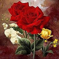 Huihuart 5D DIY美しい花ダイヤモンドペインティングフルラウンドDIY絵画キットダイヤモンド絵画クロスステッチキットモザイク手芸40x40cm、G,フレームレス