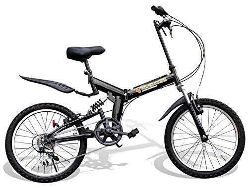 折りたたみ自転車 20インチ シマノ6段変速ギア フルサスペンション AJ-01 P-001 マウンテンバイク フロントライト/前後泥除け/ワイヤーロック錠/折り畳み自転車/MTB/小径車/PL保険 (ブラック)