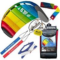 HQ Symphony Beach III 1.3 Kite Rainbow +テールバンドル( 4 Items ) + 20 ftレインボープラスチックKite Tail Streamer + WindBone Kiteboardingライフスタイルステッカー