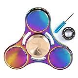 Syourselfチタン合金指先こま玩具-交換用ステンレスベアリングを贈る- 5-7 超耐久性の高速度EDCおもちゃ 防塵 5分回転できる ボールベアリング ADHD子供大人に適用(円形の虹)