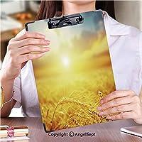 カスタム クリップボード クリップファイル 答案用紙入れ黄金の夕暮れストックフォト (2パック)