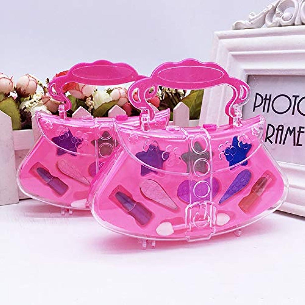 ポータブルプリンセスふりプレイ化粧おもちゃセットキッズ子供シミュレーション化粧品 - ピンク