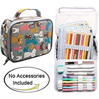 Teamoy 色鉛筆収納バッグ 84本 取り外せる鉛筆ホルダー ショルダーストラップ付き 多機能(美しい猫)