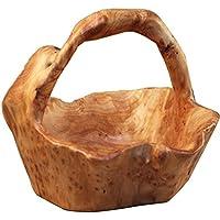 Fenteer ソリッドウッド フルーツ バスケット 野菜 バスケット ポータブルサイズ 持ち運び便利
