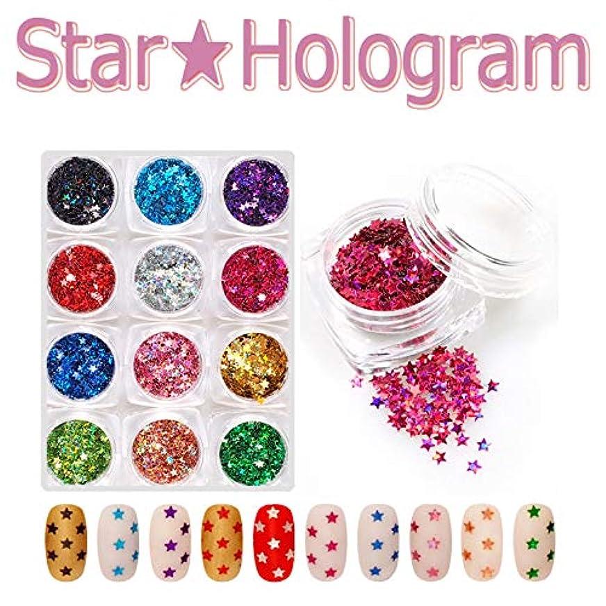 寸法稼ぐツインネイル ホログラム スター 星型 12色セット 超薄 グリッター