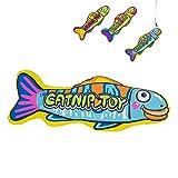 YATDA 猫おもちゃ けりぐるみ おもちゃ キャットニップ入り お魚型なペットおもちゃ 猫 運動不足 ストレス解消 ダイエット用 ペット遊びおもちゃ (ブルー)