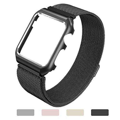 Yometome Apple Watch交換用リストバンド 38mm、iWatch Series 1 & Series 2 & Series 3ステンレス鋼のブレスレットのための高品位磁気メッシュ