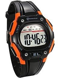 JewelryWe 多機能 学生 スポーツウオッチ 腕時計 LEDライト アラーム デジタル表示 夜光機能 オレンジ色