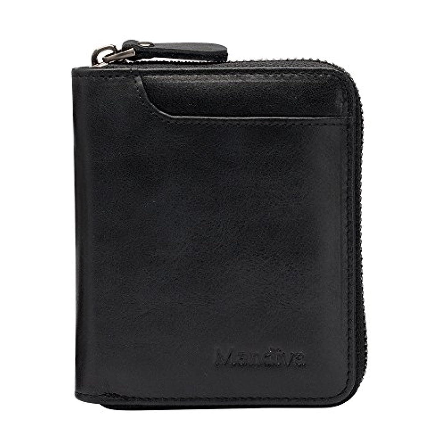 不道徳社会学手つかずのMandiva 財布 カードケース 本革 メンズ 軽量小銭入れ コンパクト ラウンドファスナー