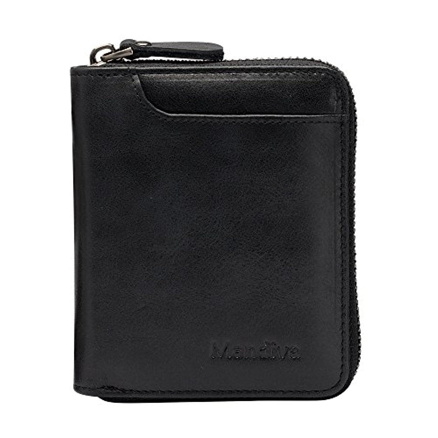 赤外線側溝ナチュラMandiva 財布 カードケース 本革 メンズ 軽量小銭入れ コンパクト ラウンドファスナー