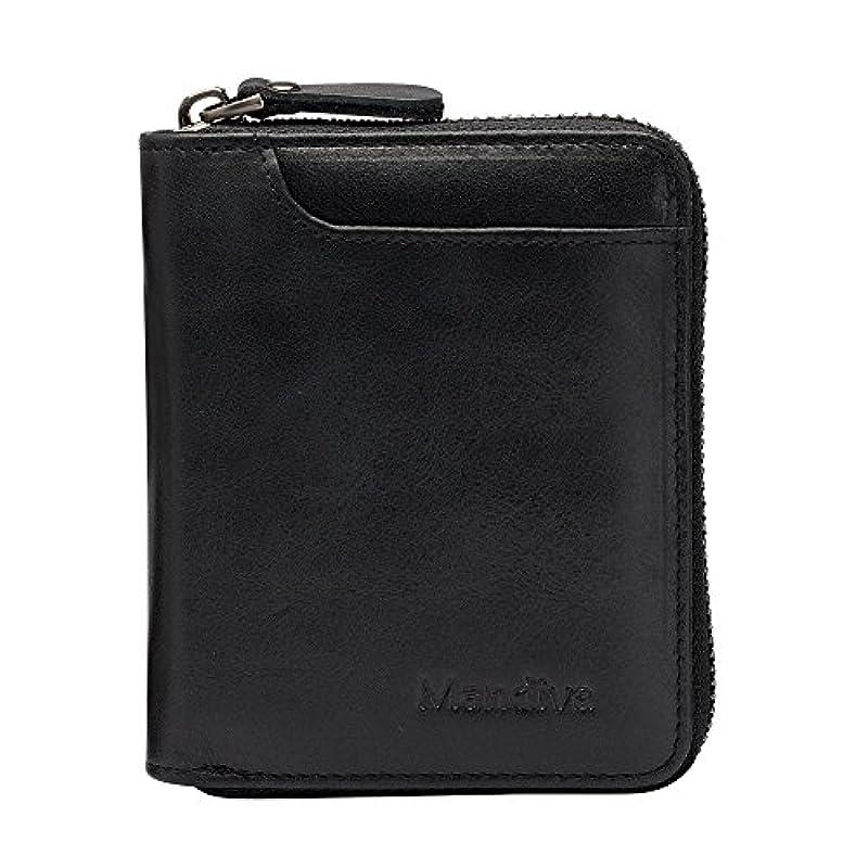 シーサイド好ましいケントMandiva 財布 カードケース 本革 メンズ 軽量小銭入れ コンパクト ラウンドファスナー