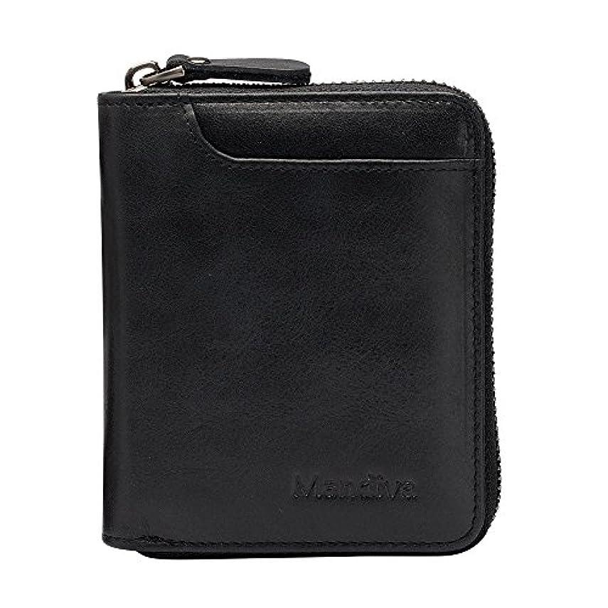 早熟促進する日曜日Mandiva 財布 カードケース 本革 メンズ 軽量小銭入れ コンパクト ラウンドファスナー