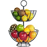 Farmhouse 2 Tier Fruit Basket - Wire Basket by Regal Trunk & Co. | Two Tier Fruit Basket Stand for Storing & Organizing Vegetables, Eggs, and More | Fruit Basket for Counter Top (2 Tier)