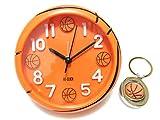 tkspo サッカーボール型 バスケットボール型 置き時計 直径11cm オリジナルキーホルダーセット (バスケットボール型)