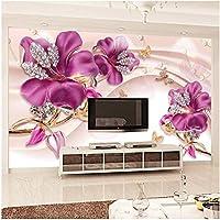 Xbwy カスタム任意サイズ壁画壁紙3Dステレオフラワージュエリー写真壁画リビングルームテレビソファ背景壁の装飾-280X200Cm