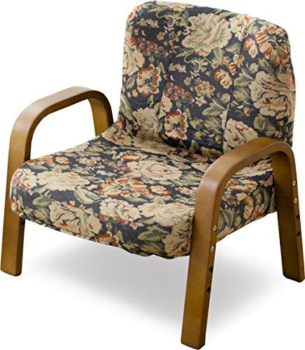 エムール 届いたらすぐ使える 「瞬楽シリーズ」 持ち運びが便利な軽い高座椅子 花柄ネイビー