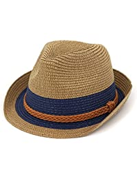 Ruiyue 夏のストロー帽子、流行のストロー夏のパナマビーチサン帽子女性のためのベルトの装飾