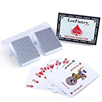 (Pack of 2 Plastic) - Waterproof Plastic Playing Cards with Plastic Boxes - 2 Decks of Cards by LotFancy, Poker Size Standard Index, for Magic Props, Pool Beach Water Card Games