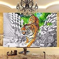 子供壁紙タイガーダウン壊れた壁大壁画用キッズ子供部屋の壁壁画リビングルームテレビソファ背景壁280×180センチ