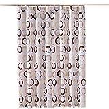 HARU(ハル)シャワー カーテン 北欧 バスルーム カーテン おしゃれ モザイクタイル 120/150/180×180cm 浴室 防水 防カビ加工 専用リング付き 間仕切り 目隠し用 取付簡単 (150 * 180cm, コーヒー)